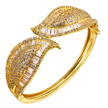 High quality luxury Leaf bangle bracelet with Square and round cubic zirconia jewelry bangles white and Gold Color Party Jewelry