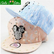 2016 New Summer Fashion Handmake Pearl Candy Color Lace Women Girls Baseball Caps Cartoon Snapback Caps Hip-hop Hats(China)