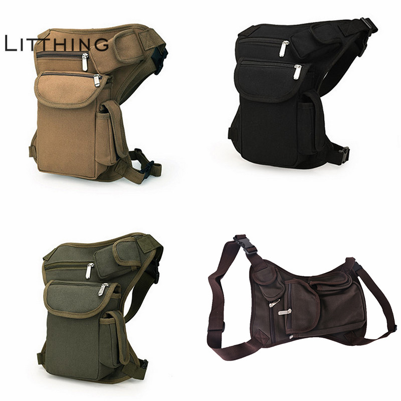 Canvas Men Waist Pack Leg Drop Bags Military Motorcycle Crossbody Messenger Shoulder Belt Bum Hip Purse Pouch Thigh Fanny Bag(China)