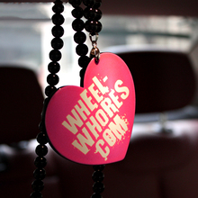 Wheel- Whores.Com PInk Heart Badge Car Fashion Pendant Car-Styling JDM Interior Rearview Mirror Ornament Beads Hellaflush Charm