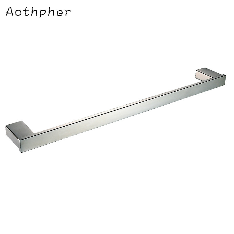 Aothpher Chrome 60CM Wall-Mounted Bathroom Mirror Poish Towel Bars Towels Racks Hanger Single Towel Bar For bathroom Kitchen<br><br>Aliexpress
