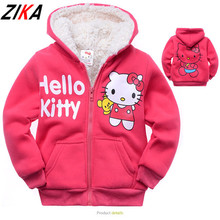 ZIKA 2017 Retail 2-9 Years Winter Hello Kitty Kids Clothes Cartoon Cat Thick Cashmere Children Hoodies Warm Hoodies For Girls