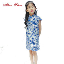 Girl cheongsam summer 2017 new children's print dress kids cotton and linen chinese style short-sleeved clothes tang suit