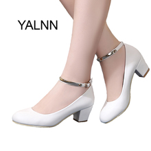 YALNN New Women's High Heels Pumps Sexy Bride Party Thick Heel Round Toe leather High Heel Shoes for office lady Women(China)