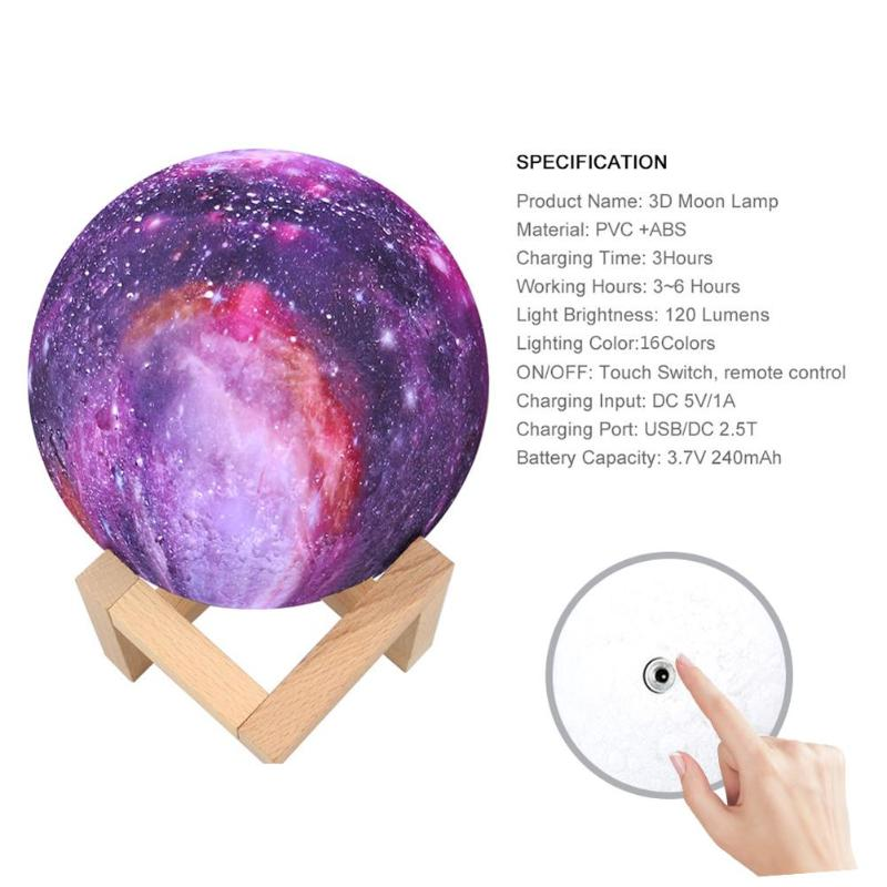 16 Colors 3D Print Star Moon Lamp Colorful Change Touch Home Decor Creative Gift Usb Led Night Light Galaxy Lamp Dropshipping 8