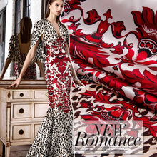 red flowers Leopard print fashion new arrival elastic sericiculture silk satin dress clothes fabric textile Wholesale retail(China)