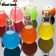 Visual Touch 100-500ML Ecofriendly Plastic Beverage Bottle Water Milk Juice Drinking Cup Light Bulb Mug Plant Flower Container