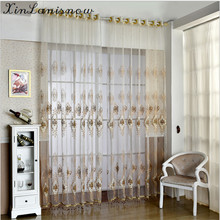 The New Window Double Silk Yarn Exquisite Embroidery Curtain Tulle Sheer Yarn for living dining room bedroom with Special Room(China)