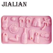 Coconut trees slippers bikini chocolate Party cake decorating tools DIY baking cooking fondant silicone mold T0427(China)