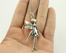 WYSIWYG 2 colors antique silver, antique bronze color 22*58mm Fairy pendant necklace,70cm chain long necklace