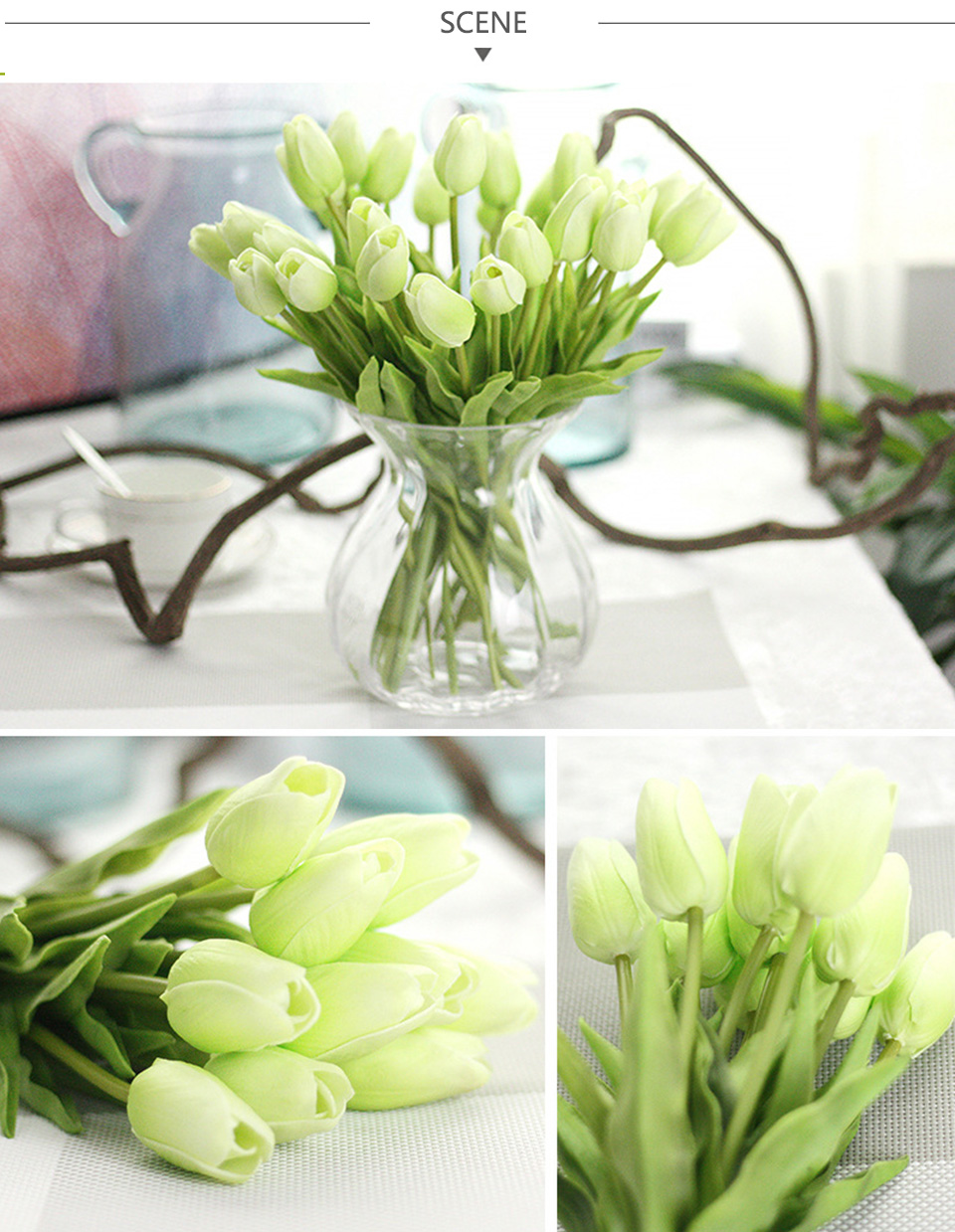 1pc PU Tulip Artificial Flowers Mini Tulip Flower Real Touch Wedding 10 Colors Fake Flowers Tulips For Home Decoration_04
