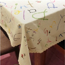 HBZ25 tablecloth table cover cloth linen natural cartoon fabric rectangle squre beige napkin chalk english picture charcter