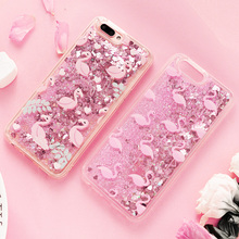 Cute Cartoon Flame Birds Animals TPU Phone Case For Iphone 6 Cases Liquid Quicksand Glitter Case for Iphone 7 Cases 6S 7 8 Plus(China)