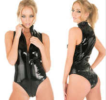 Buy One Zips Latex Wet Look Catsuit Gothic Bandage Faux Leather Bodysuit Cat Women Fetish PVC Teddy Lingerie Erotic Clubwear Costume
