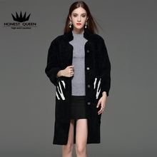 HONEST QUEEN Fashion Women`s Real Fur Coat Sheepskin wool leather woolen wool cashmere long hair collar fur coat Fur jacket