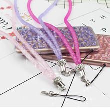 Mobile phone rope neck lanyard Crystal grid strap key phone case breast plate rope buckle ring rotary rope for iphone huawei