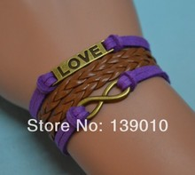 Purple Knitted Brown Leather Suede Letter LOVE Bracelet Bangle Antique Bronze Infinity Charm Women Men Jewelry Cheerleading Gift