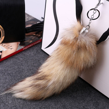 New Fashion Fox Tail Keychain Fox Fur Keychain Hot Large Wolf Tail Fur Tassel Bag Tag Black And Brown Keychain Strap Chain S3877(China)