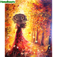 Home Beauty diy oil painting by numbers beauty lady canvas picture for living room abstract drawing coloring by number craft(China)