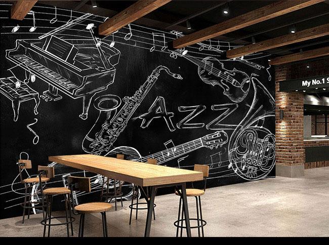 Hand-painted musical notes kvt Bar Restaurant personality large mural wallpaper backdrop living room Videos TV stereo wallpaper<br>