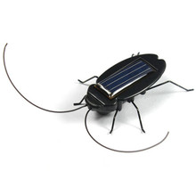 Funny Solar Toy Solar Power Energy Black Cockroach Bug Toy For Children Student A8311(China)