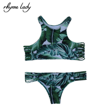 Rhyme Lady 2017 Summer Female swimwear low waist swimsuit Green sexy Brazilian beach push up cop top bikini set(China)