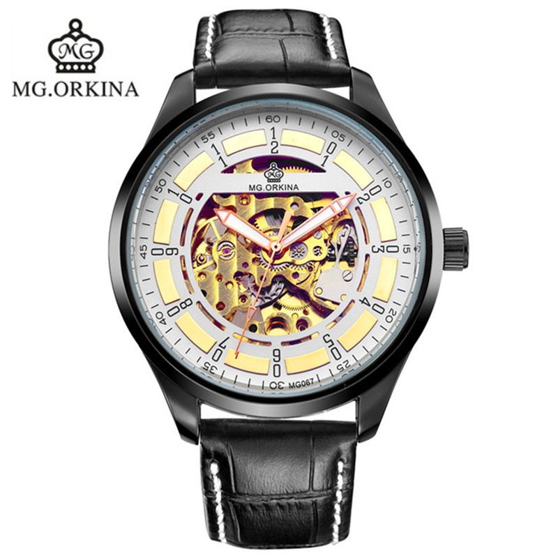 Mens ORKINA Fashion New Design Big Case Automatic Self-Wind Skeleton Mechanical Watch<br><br>Aliexpress