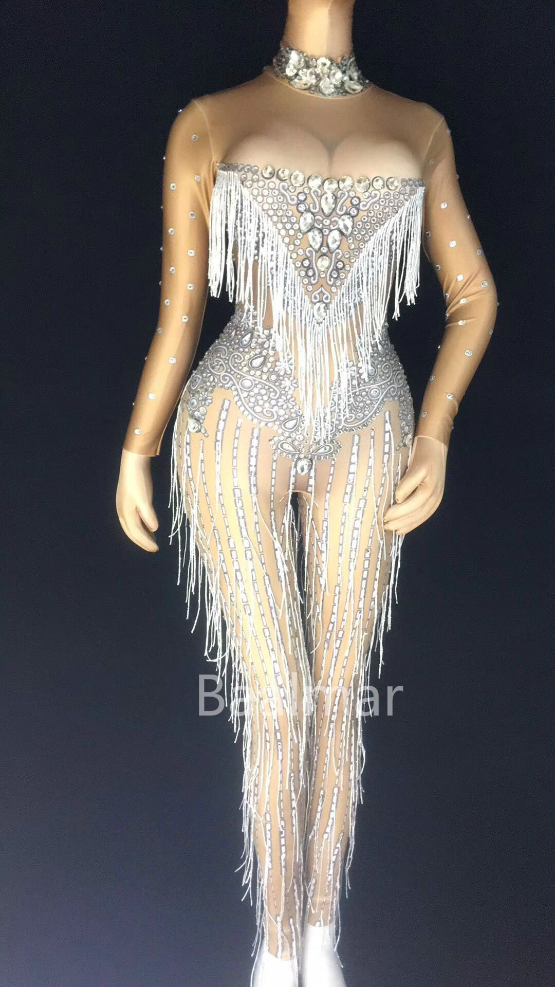 Sparkly Sexy Jumpsuit Women Stage Dance Fringes Birthday Nightclub Female Singer Bodysuit Costume Evening Celebrate Party Outfit