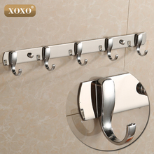 XOXO Best Promotion 3/4/5/6/7 Stainless Hooks Coat Hat Holder Clothes Rack Hook Wall Home Kitchen Bathroom Hanger Door Decor