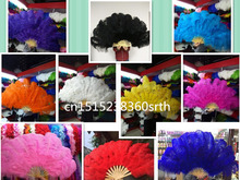 wholesale 20pcs natural Ostrich Feather Fan for Belly Dance Halloween Party Ornament Necessary 13 Bones Fan stage performance di