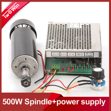 FREE SHIPPING Air cooled 0.5kw Air cooled spindle ER11 chuck CNC 500W Spindle Motor + Power Supply speed governor For DIY CNC