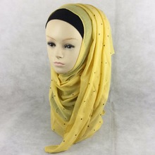 20 Colors New Muslim Hijab Scarf Solid headscarf cotton long scarf with Copper pieces Islamic scarf(China)