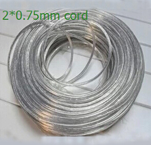 10m/lot Lighting lamps transparent electrical wire pendant light power cord 2*0.75mm power cord electric cable