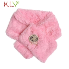 Stylish 60cm*80cm baby girls   Pink Kids Winter Retro Scarf Girls infants Coral Velvet Neck Collar Warmer Neckerchief
