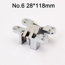 2PCS 28x118mm Stainless Steel Hidden Door Hinges Invisible Concealed Cross Hinges Bearing 50KG For Folding Door