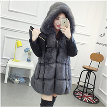 2016 autumn and winter women Artificial fur coat hooded faux fur jacket detachable cuffs vest slim 3 colour grey fur coat