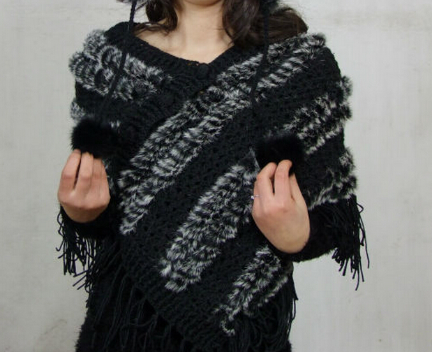 Women New Arrival Fashion Real Rabbit Fur Pashmina natural striped fur scarf wraps free shipping DFP611