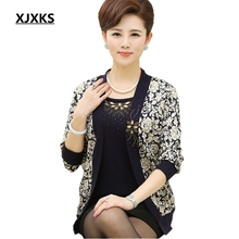 XJXKS New 2017 middle age women twinset mother clothing set sweater female cardigan fashion sweater women outerwear set