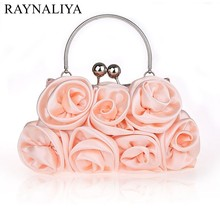 2017 New Women Floral Hobos Soft Flowers Day Clutches Lady Bridesmaid Hand Bags Evening Bag Sweet Pink Tote Smysfx-e0037(China)