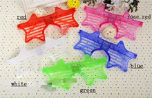 50pcs/lot Colorful fashion led five-point star glasses toys blinking shutter eyeglasses christmas party glow flashing mask toy(China)