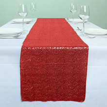 "12"" x 72"" Red Glitter Sequin Table Runners For Wedding Event Party Banquet Table Decoration(China)"