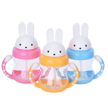 240ml Cute Rabbit Baby Feeding Cup with Straw Children Learn Feeding Drinking Bottle with Handle Kids Water Bottles Training Cup(China)