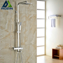 "Brand New Chrome Thermostatic Water Shower Faucet Set Bath Tub Shower Mixers with Handshower 8"" Rain Showerhead(China)"