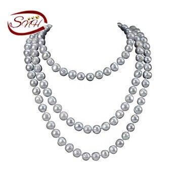 SNH 11 мм марки Б серого цвета 120 см долго картофеля ГОРЯЧЕЙ ПРОДАЖИ серый цвет натуральный жемчуг ожерелье для женщин длинные жемчужные ожерелье