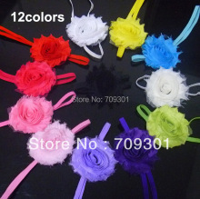 "12Colors Shabby chiffon flower Headband  2.5"" Shabby Chic Headbands 40pc/Lot Free Shipping"