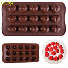 Delidge 1 pc 15 Holes Heart Shape Chocolate Molds DIY Silicone Cake Decoration Jelly Ice Love Gift Chocolate Molds Baking Tools(China)