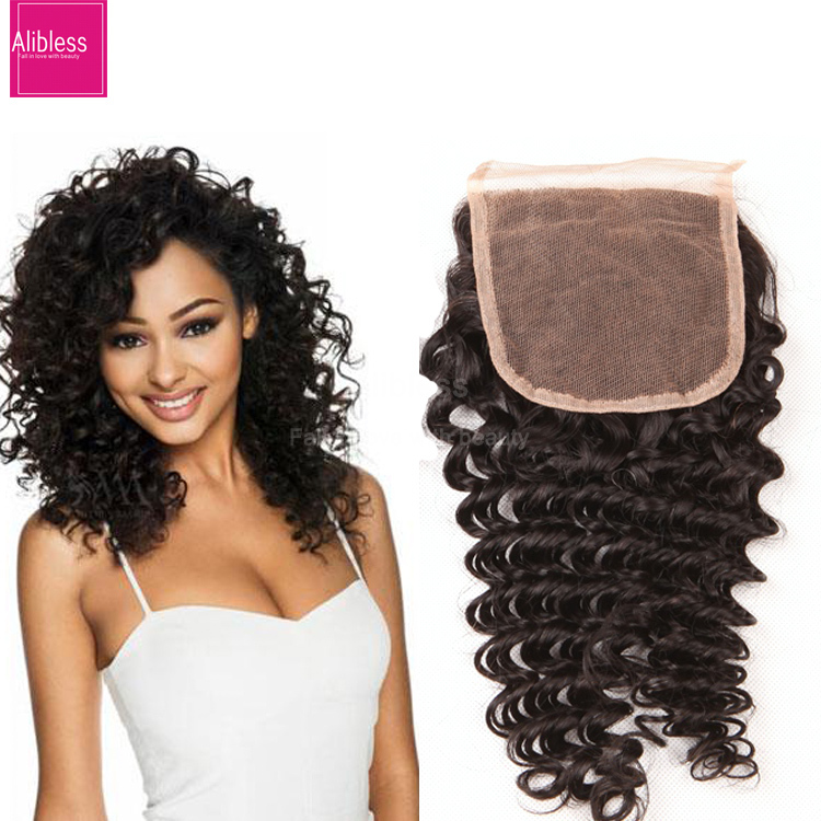 7A brazilian deep curly closure bleached knots 4*4 virgin human hair cheap free middle 3 part top lace closures with baby hair<br><br>Aliexpress