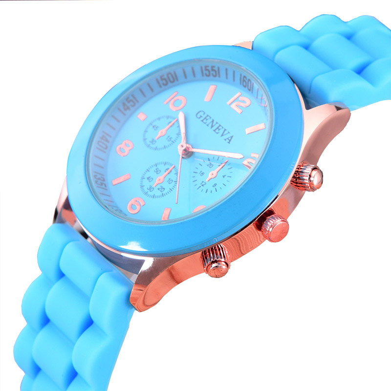 Casual Watch Geneva Unisex Quartz watch 14color men women Analog wristwatches Sports Watches Rose Gold Silicone Dropship<br><br>Aliexpress