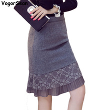 VogorSean New Women Evening Party Spring Autumn Skirt Black Ruffles Celebrity Knee Length Mermaid Bodycon Sexy Pencil Skirts(China)