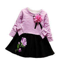BibiCola Baby Girl Clothes Dress Bebe Spring Clothing Trucksuit Set Toddler Girl Floral Clothes Set Kid Apparel Set Dress+Jacket